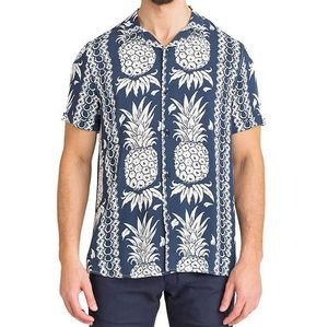 Men's Guess blue pineapple print Hawaian shirt